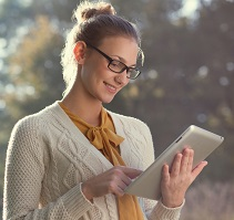 Woman reading from Tablet