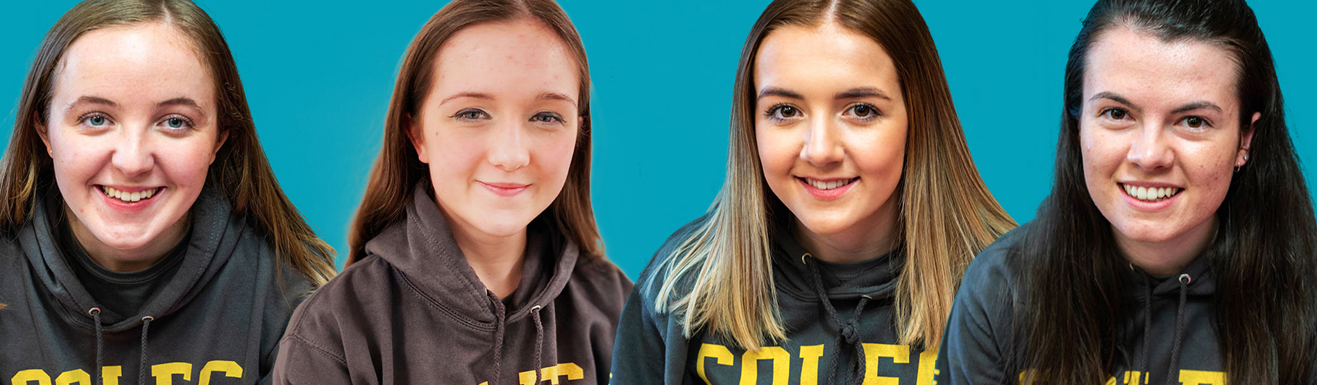 Four Coleg Cymraeg Ambassadors who are studying at Swansea University