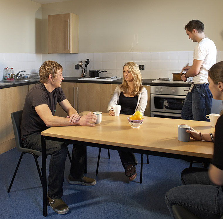 Students having a cuppa in one of the Penmaen kitchens