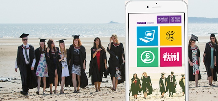 Image of the app on an iPhone with students on a beach in the background