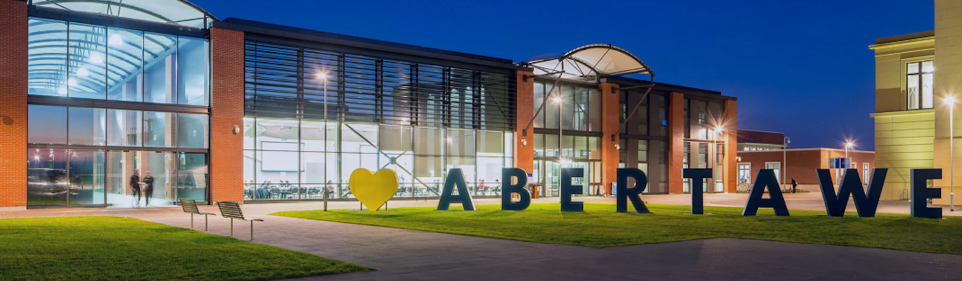 The Great hall on the Bay Campus with the letters Abertawe