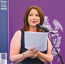 Dr Gwenno Ffrancon launching the appeal at the Eisteddfod