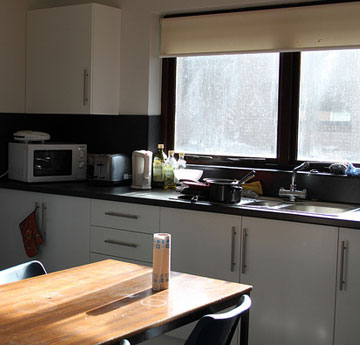 Communal kitchen in Hendrefoelan Student Village, Swansea University