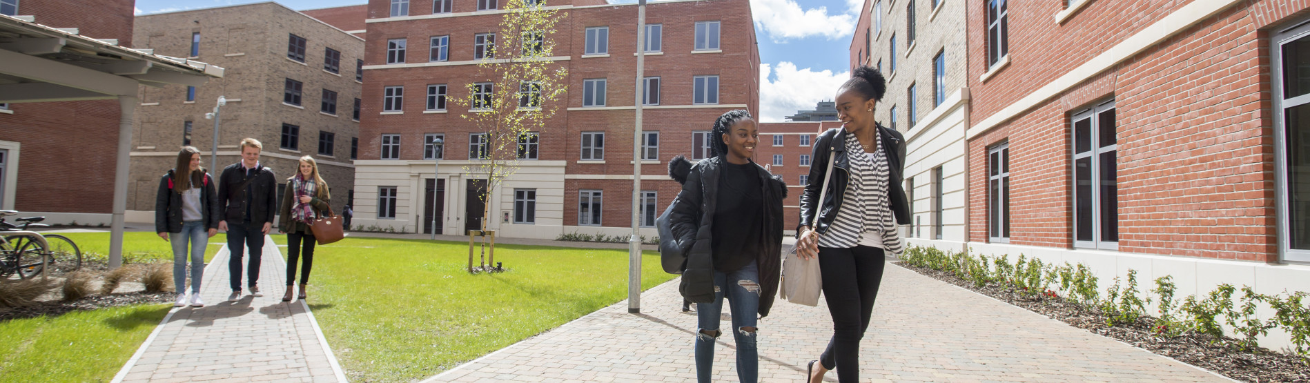 Students outside Bay Campus residences.