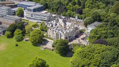 Aerial view of the Abbey Building in Singleton Park