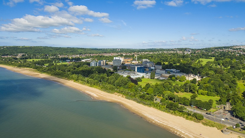 Aerial photo of Singleton Park Campus and Swansea Bay