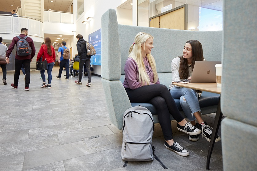 Students in the Bay Campus Library