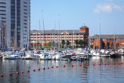 A picture of the Swansea Marriott Hotel and the Swansea Marina