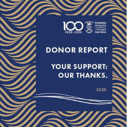 A picture of the Report to Donor 2020 cover. | Your Support. Our Thanks