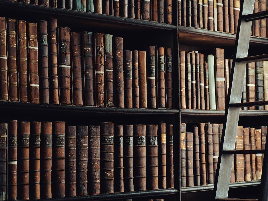 Old books on a wooden bookcase.