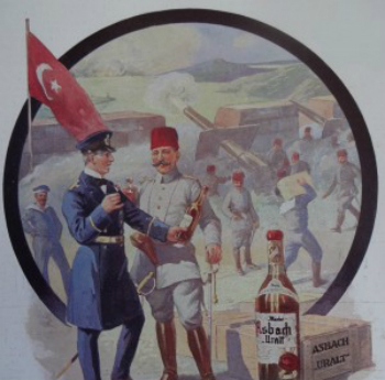 Drawing of Turkey at war, sampling wine
