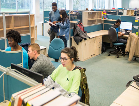 Postgraduate students studying in the post graduate study room