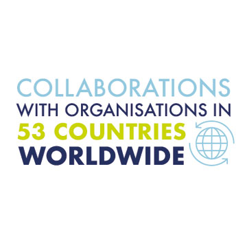 Collaborations with organisations in 53 countries worldwide