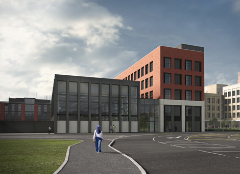 CGI of IMPACT - Engineering North building on bay campus