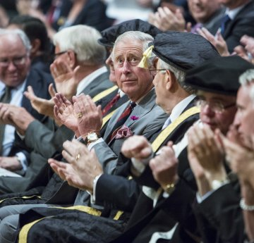 HRH The Prince of Wales sat down with Vice-Chancellor and senior managers in ceremonial robes