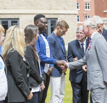 HRH The Prince of Wales meeting students on the Bay Campus