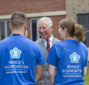 HRH The Prince of Wales meeting students in Prince's Foundation t-shirts