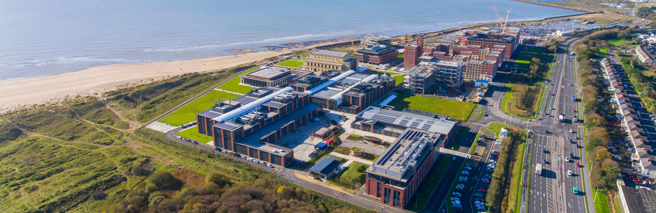 aerial image of the bay campus showing the seafront