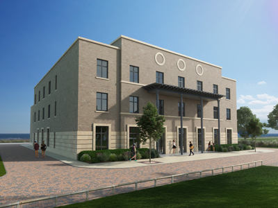 CGI of The College building on the bay campus
