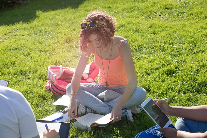 studying outdoors