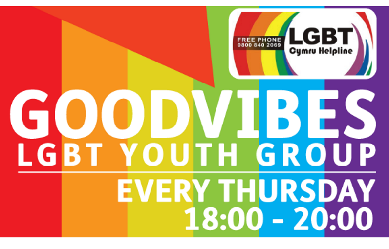 Poster for Goodvibes LGBT Youth group run every Thursday 6-8pm at YMCA Swansea
