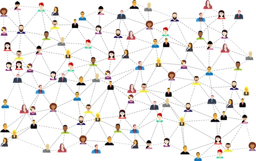 Small avatars of different people connected like a computer network.