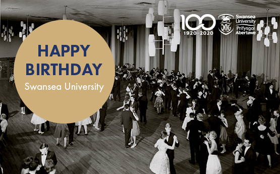 Happy birthday Swansea University written in on a gold circle in front of a black and white photo of people dancing