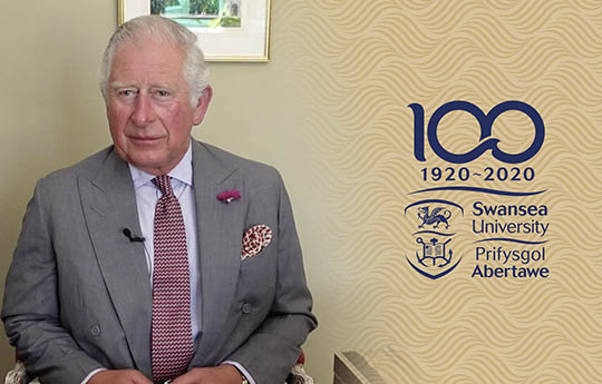 HRH the Prince of Wales and the Swansea Centenary logo