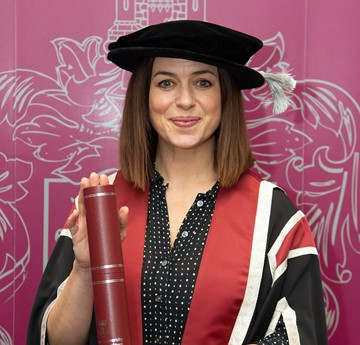 Eve Myles receiving an honorary degree from Swansea University