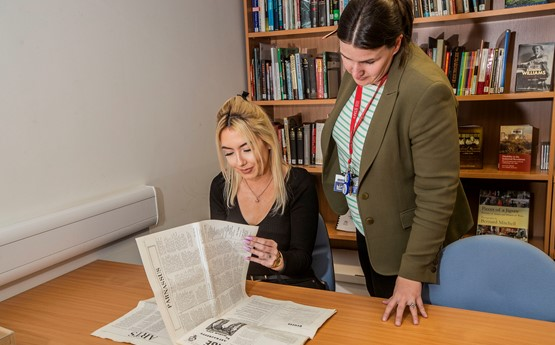 Jay and Assistant Archivist Emily Hewitt