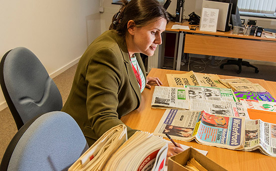 Assistant Archivist Emily Hewitt, 2019. Photo: Archives and Records Council Wales