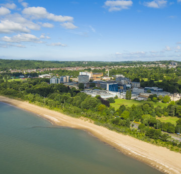 ariel view of singleton campus and the beach
