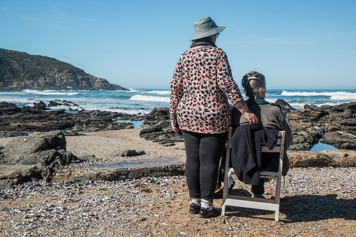 elderly lady and support worker