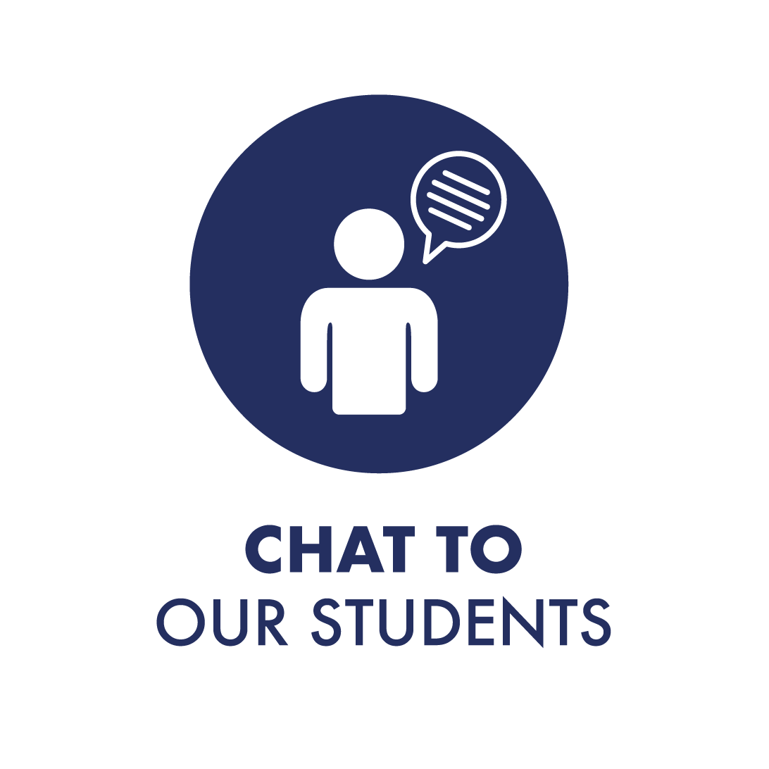 Icon which says Chat to our Students