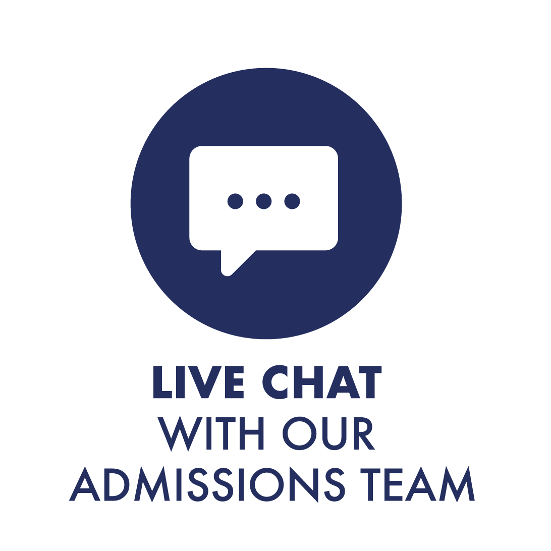Icon that says Live Chat with our Admissions Team