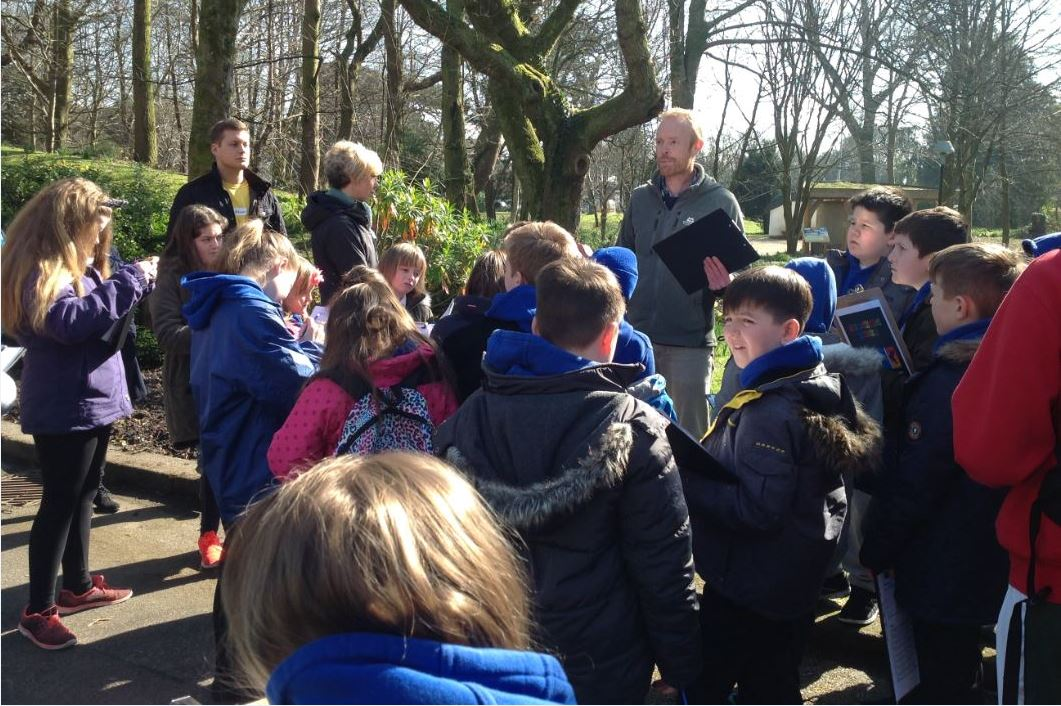 Primary pupils on a nature day