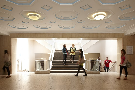 Students walking through the Wallace Building Foyer