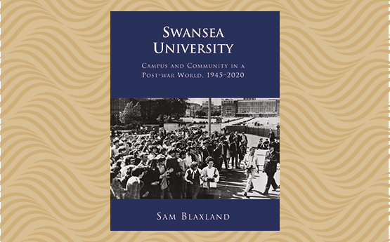 The cover of Dr Sam Blaxland's book in front of the Centenary gold wave background