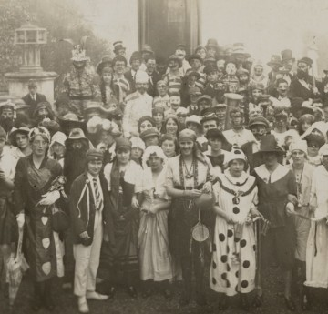 A group of Swansea University students dressed up for RAG in 1922