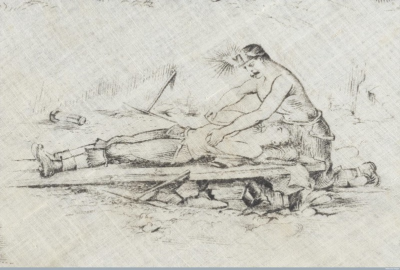 Depiction of an injured miner on a stretcher.