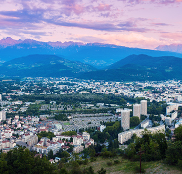 Aerial view of Grenoble architecture at sunset