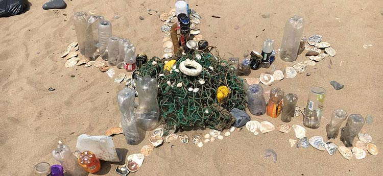 Rubbish collected on a beach