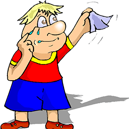 Cartoon of person in red top and blue shorts waving goodbye with tears and a hanky