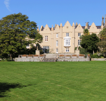 Exterior view of the Abbey on a sunny day