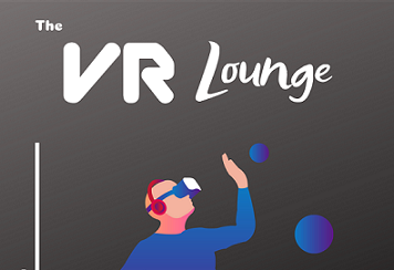 Grey background with white text reading 'VR Lounge'