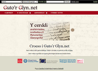 Screenshot of poem in Welsh with analysis to the right in a separate pane.
