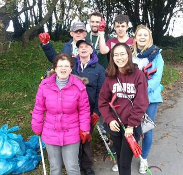 Volunteers at a beach clean
