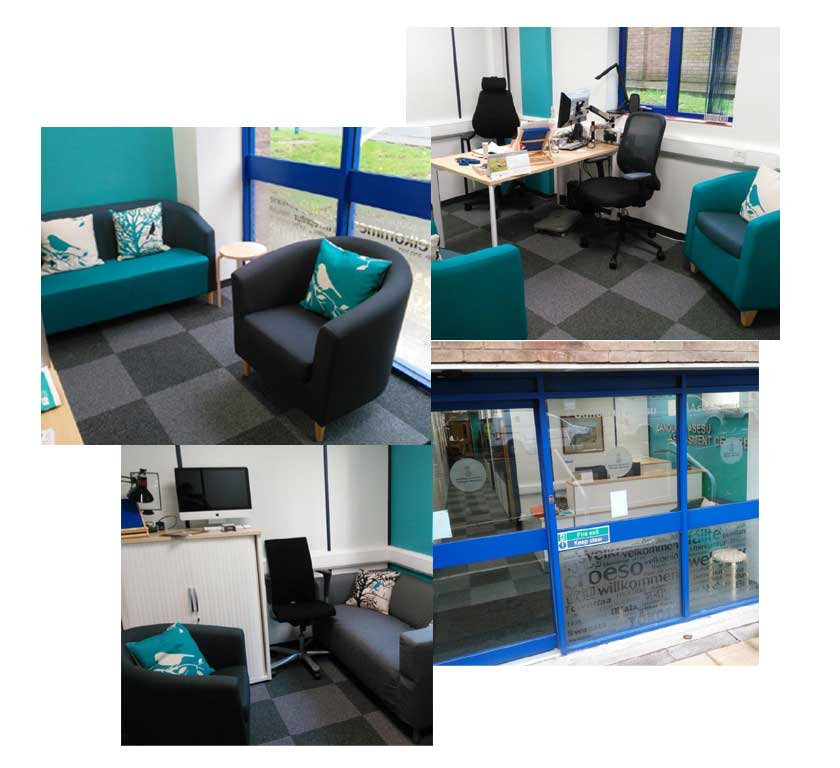 A collage of pictures of the inside and outside of our assessment centre, showing a mixture of comfortable chairs, office chairs, technical equipment, reception area and front door. All rooms are in light grey and teal, with dark grey carpet