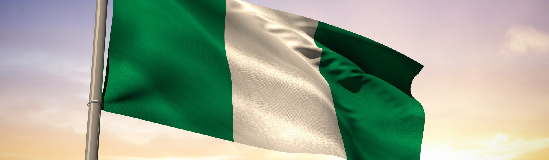 Nigerian Flag blowing in the breeze.