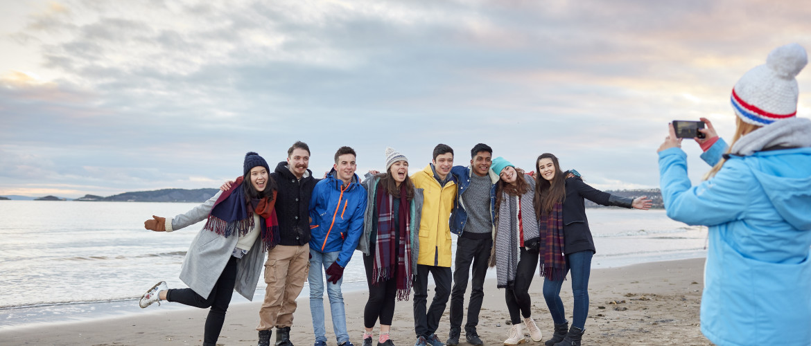 Group of students on the beach